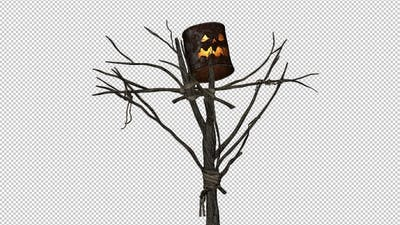 Halloween Scarecrow - Bucket Head - Burning Loop