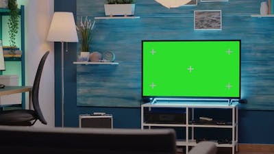 Green Screen on Monitor in Empty Living Room