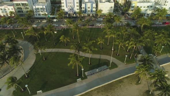 Lummus Park and Ocean Drive. Miami South Beach. Aerial View