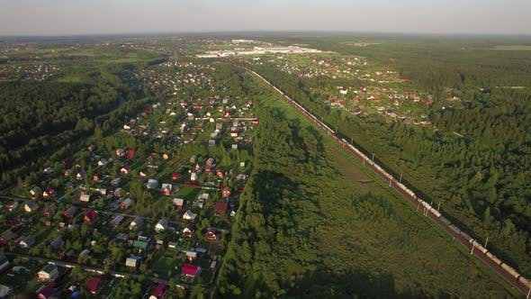 Thumbnail for Russian Countryside and Railway, Aerial View