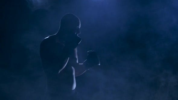 Thumbnail for Workout Before the Fight. Strong Blows Boxer. Silhouette Studio