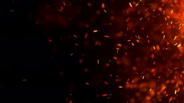 Burning Embers Particles Over Black Background