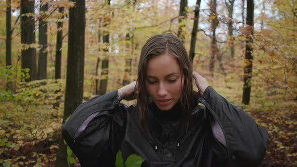 Thumbnail for Beautiful Woman With Wet Hair On Forest Walk