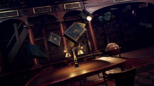 Fliegende Bücher in der Bibliothek 1