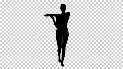 Silhouette  woman stretching , Alpha Channel