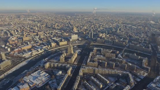 Thumbnail for Aerial Top View of Road Junction in Moscow From Above, Automobile Traffic and Jam of Many Cars