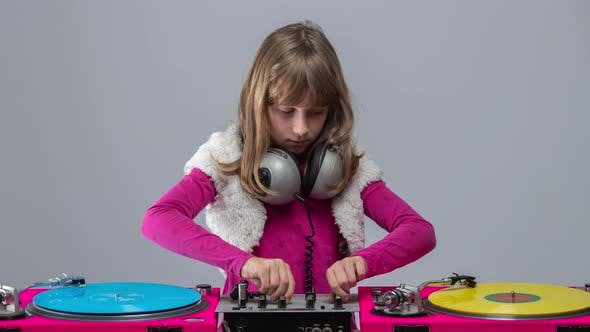 Thumbnail for Girl with Headphones Round Neck Playing Records