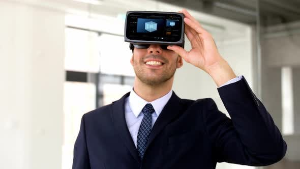 Thumbnail for Businessman with Vr Headset and Cube on Screen