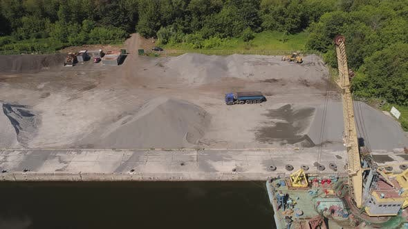Thumbnail for River Crane Excavator on Barge.