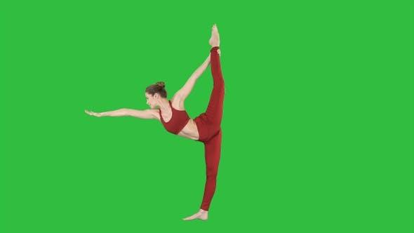 Thumbnail for Yoga pose woman doing stretching legs, leg split on a