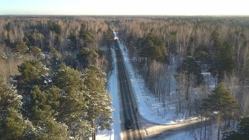 Aerial Motion Sports Person Runs Along Road in Winter Forest