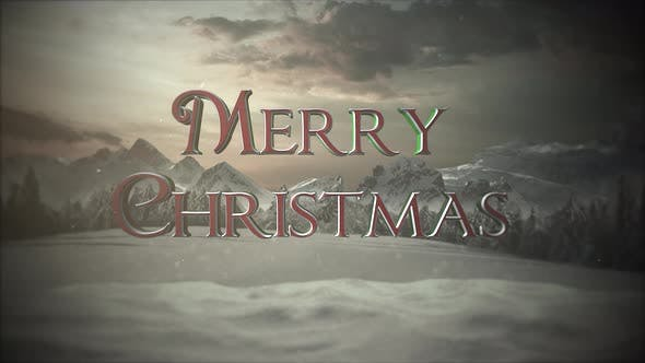 Thumbnail for Animated close up Merry Christmas text, mountains and snowing landscape