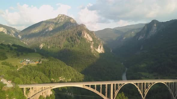 Cover Image for Djurdjevic Bridge Over the Tara River in Northern Montenegro. Aerial Footage
