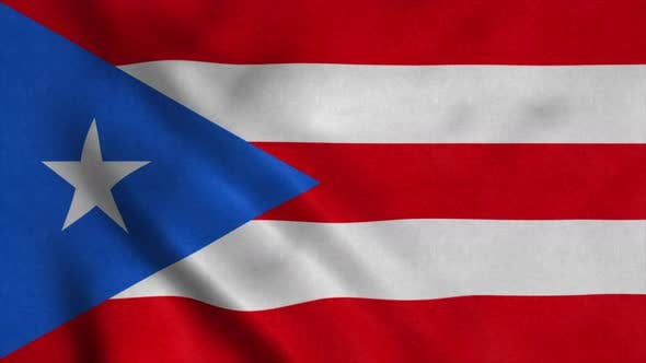 Puerto Rico Flag Waving in Wind