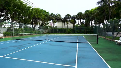 Drone flyover a Tennis Court