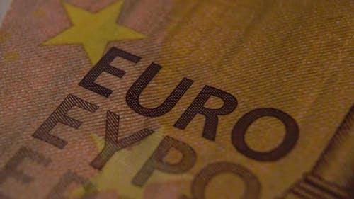Wort EURO Close Up auf der Banknote der europäischen Währung