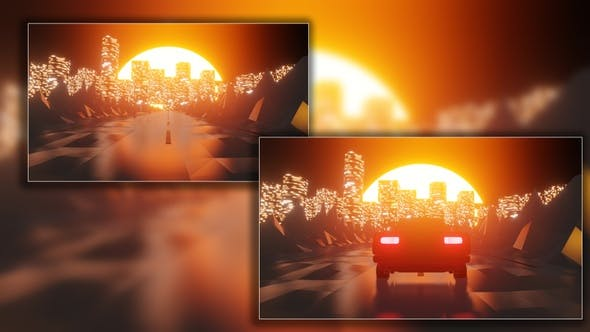 Thumbnail for Car At Sunset Traveling To The City