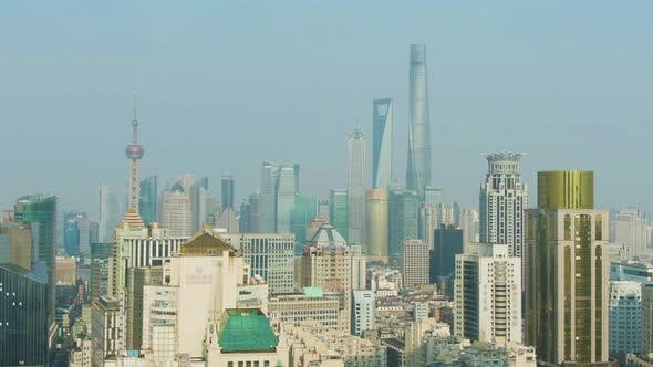 Shanghai Cityscape at Clear Day. Huangpu and Lujiazui. China. Aerial View