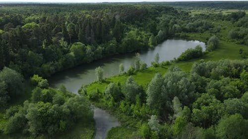Rural Landscape Where The River Flows. Rural Life
