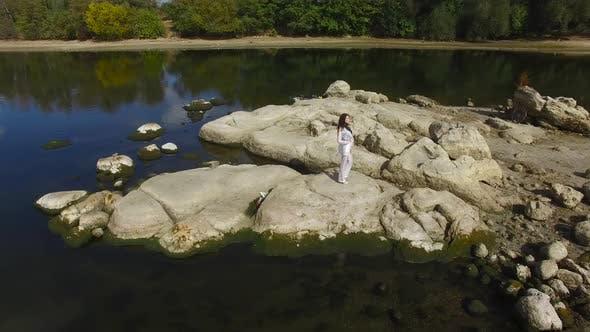 Thumbnail for Girl Walking on the River Girl Smiling