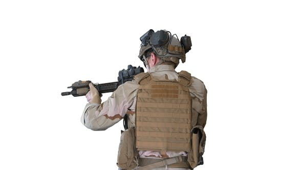 Thumbnail for United States Ranger Walking with Assault Rifle on White