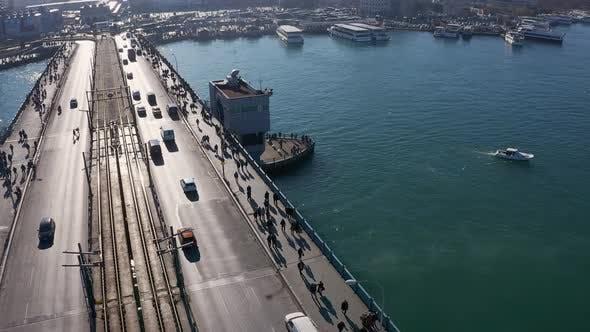 Thumbnail for Istanbul Galata Bridge Aerial View 5