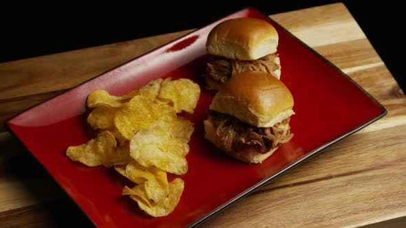 Thumbnail for Rotating shot of delicious pulled pork sliders