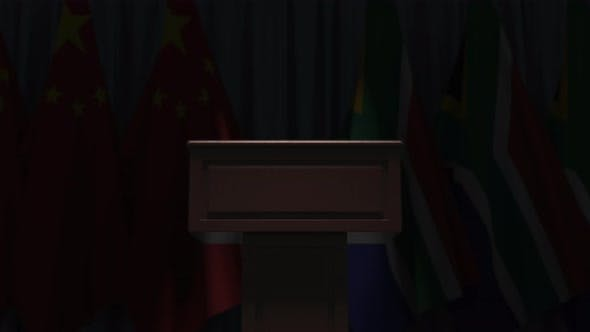Thumbnail for Flags of South Africa and China and and Speaker Tribune