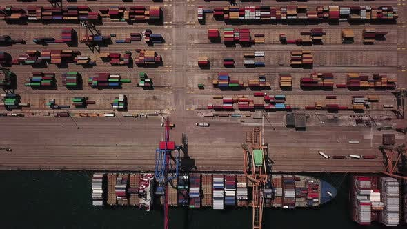 Thumbnail for Industrial Cargo Area with Container Ship in Dock at Port, Aerial View