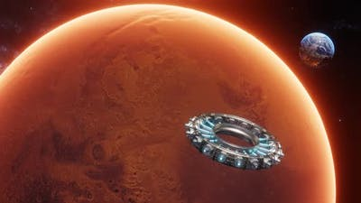 View of Mars Earth and Spaceship