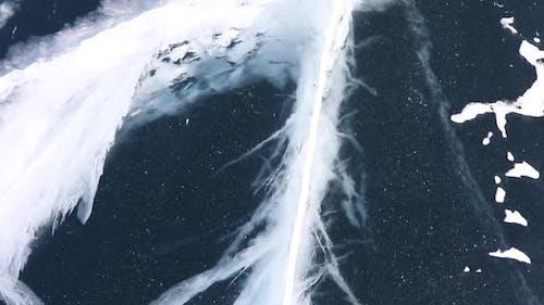 Beautiful Transparent Blue Ice of Frozen Baikal Lake