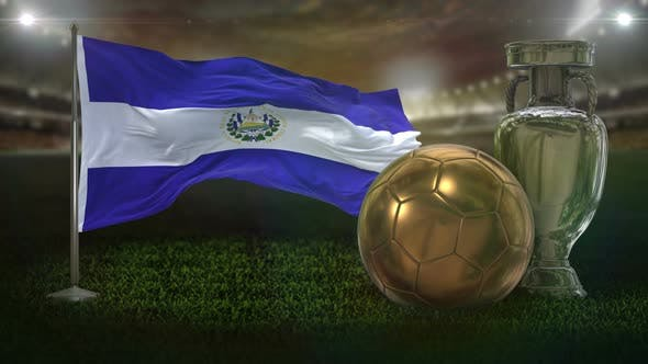 El Salvador Flag With Football And Cup Background Loop