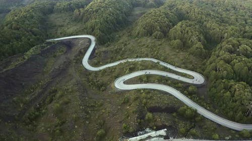 Winding road in mountain landscape, Chile