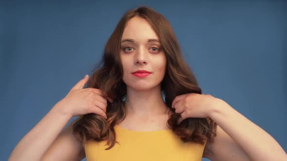 Thumbnail for Slow Motion of Gorgeous Brunette with Luxurious Hair.
