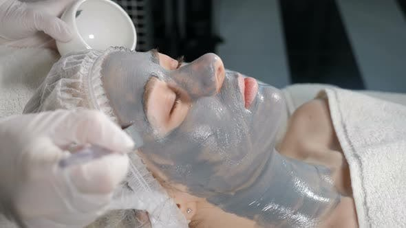 Thumbnail for Cosmetologist Iapplying Mask on Woman Client Face in Beauty Clinic. Portrait of Woman Closeup