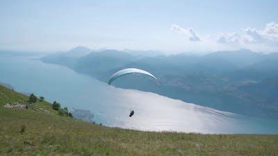 Paragliding Flight on Lake Garda in the Alps