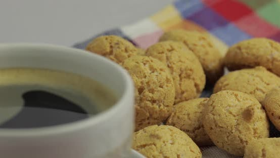 Thumbnail for Cookie and Cup of Coffee. Kruidnoten, Pepernoten, Traditional Sweets, Strooigoed