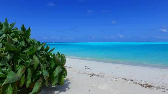 Thumbnail for Natural fly over travel shot of a sandy white paradise beach and aqua blue ocean background in hi re