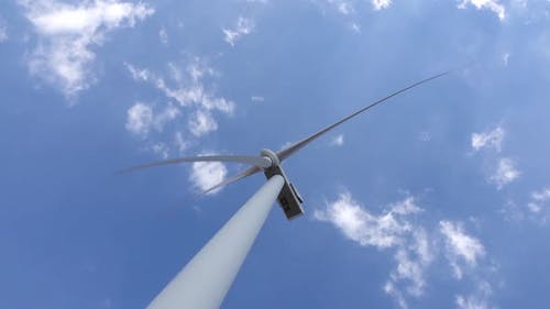 Wind Turbine Blades Revitalizing Power of the Wind View From Below. Close Up