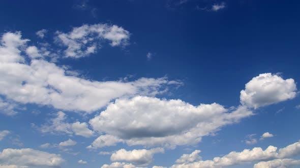 Cumulus Clouds Against the Blue Sky.