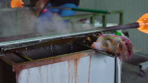 Blow Glass is Cooled with Water