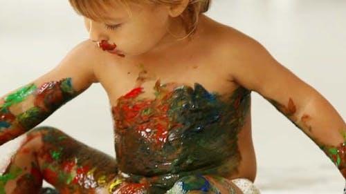 Recouvert de peinture