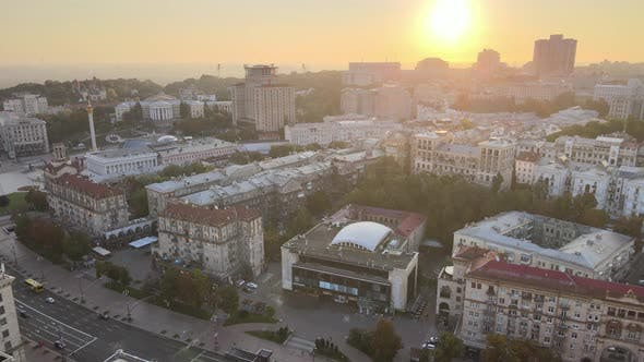 Ukraine, Kyiv : City Center in the Morning at Sunrise, Aerial View, Kiev