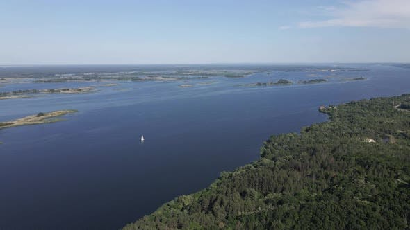 Thumbnail for Nature of Ukraine: Dnipro River. Aerial View. Slow Motion