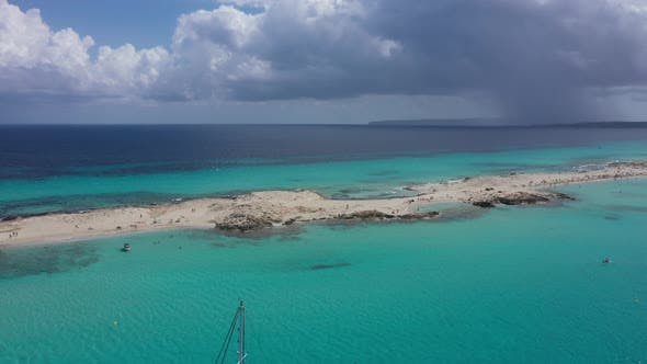 Aerial View Over the Clear Beach and Turquoise Water of Formentera, Ibiza.