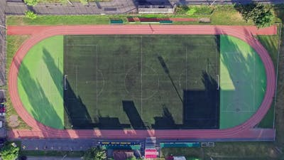Outdoor Small Football Field and Runway Top View