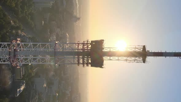 Cover Image for Vertical Video  TV Tower in the Morning at Dawn in Kyiv Ukraine