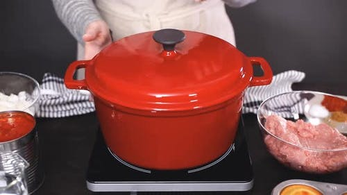 Step by step. Cooking turkey chili in enameled cast iron covered dutch oven.