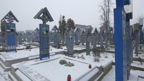 The Merry Cemetery in Sapanta during winter