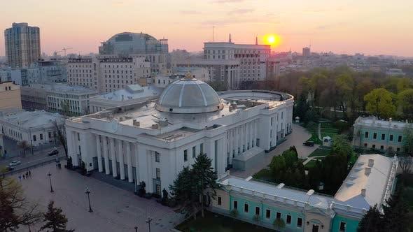Verkhovna Rada of Ukraine During Sunset. The Building of the Ukrainian Parliament